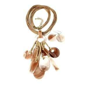 Milky Earth Tone Long Lucite Charm Tassel Necklace